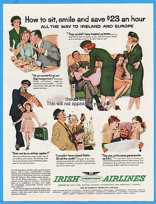 1960 IRISH INTERNATIONAL AIRLINES Stewardess Pilot Passengers ad Advertising