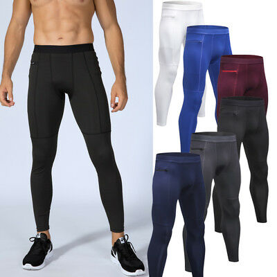 AU Mens Gym Running Tights Base Layer Compression Long Pants Trousers Sweatpants