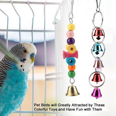 6pcs/Set Colorful Wooden Pet Bird Swing Toy Bells Parrot Cage Hanging Swing Toys
