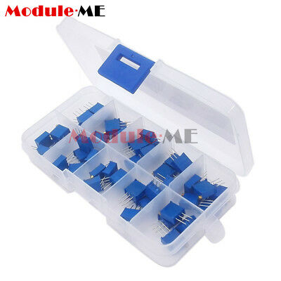 50PCS 10value 3296 Trimmer Trim Pot Potentiometer Resistor Box Kit Assortment