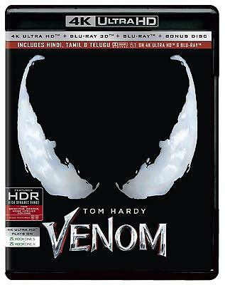 Venom (2018) (4K Blu-ray + Blu-ray 3D + Blu-ray) (Region Free) (Three Disc)(NEW)
