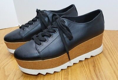 27ff90e0032 Mossimo Juniper Womens 11 Black Platform Lace Up Sneakers Faux Leather Cork  Punk