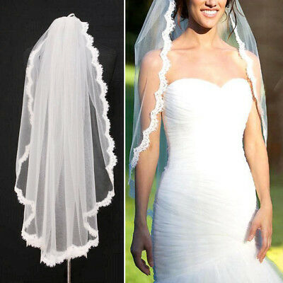 Fashion Elegant Bridal Wedding Veil Lace Flower Edge Cathedral Church 100*150cm