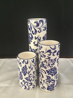 Hamptons Blue Printed Tealight Holders Set Of Three