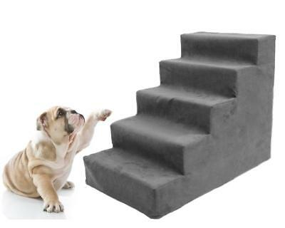 Comfort Foam Steps Pet Dog Stairs to get on High Bed Cat Ramp Ladder with Fleece