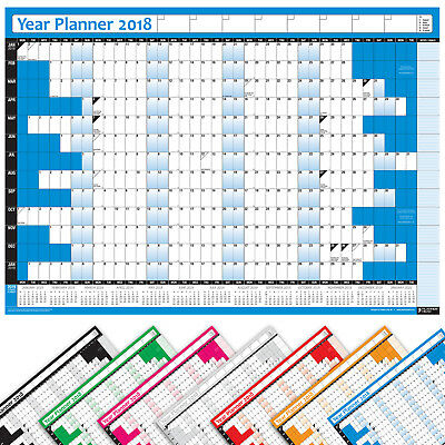 2019 LAMINATED Wall Calendar Calender Yearly Planner COLOURED Chart Pen Stickers