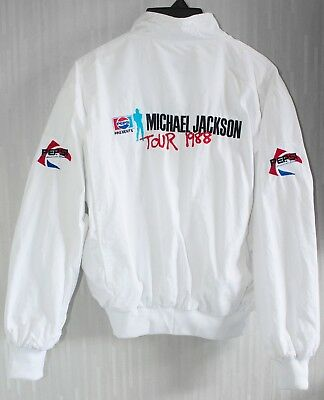 Michael Jackson - BAD Tour 1988 White Bomber Jacket (Promo Pepsi Japan) VTG RARE