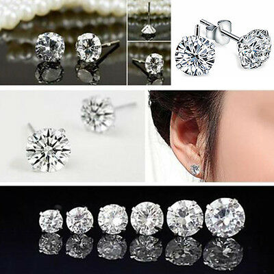 Womens Mens Unisex Solid Sterling Cubic Zirconia Round Stud Earrings HOT