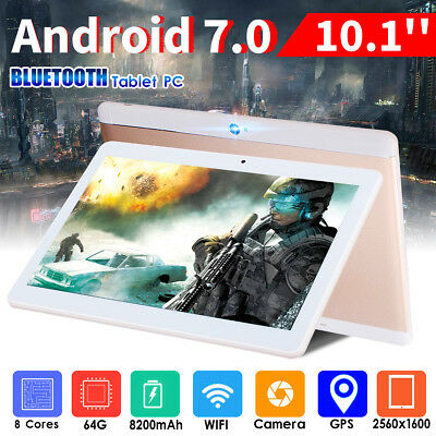 "10.1"" 64G Tablet PC Android 7.0 Octa Core 10 Inch WIFI 2SIM 4G Phablet HZ"