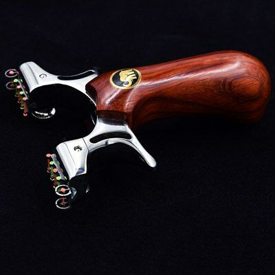 Hunting Slingshot Catapult Stainless Steel + Wood Handle with 2pcs Rubber Band