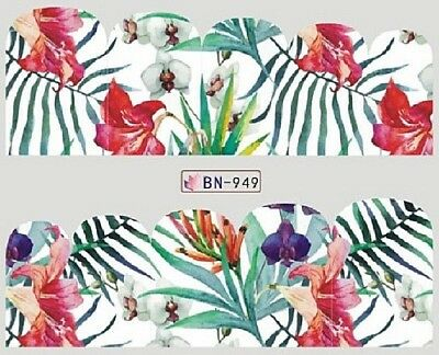 Nail Art Full Wrap Transfers Stickers Jungle Flowers (BN949)