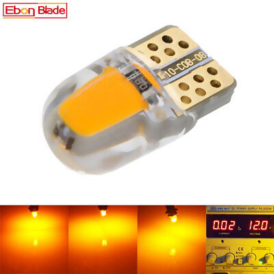 2 x Amber Orange T10 W5W Silicone LED Bulbs Car Door Side Marker Light Lamps 12V