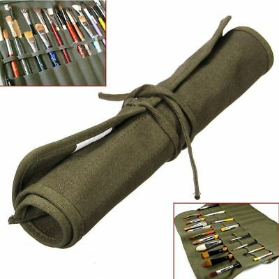 Popular Roll Up Canvas Paint Brush Storage Case Bag For Watercolor Oil Brush