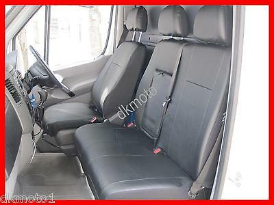 Tailored Leather Look seat covers Mercedes Sprinter 2006 - on   black  1+2