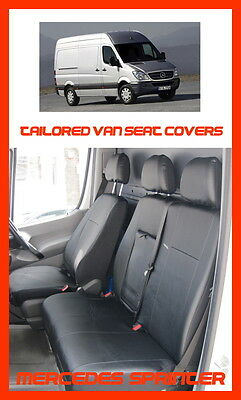 Tailored Leather Look seat covers for Mercedes Sprinter 2015  W906 black  1+2