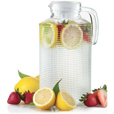 Glass Pitcher With Lid Drink Ice Tea Large Carafe Cold Water Beverage Dispenser