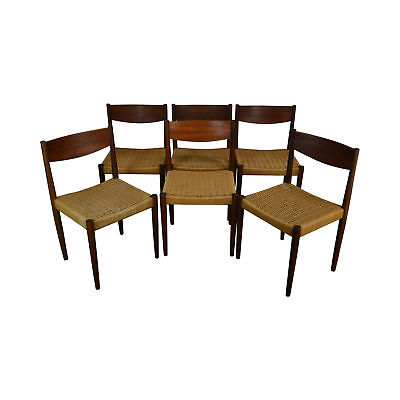 Poul Volther For Frem Rojle Danish Modern Teak Woven Cord Set 6 Dining Chairs