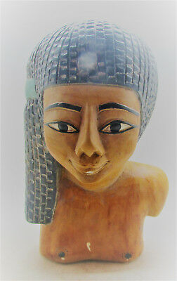 Ancient Egyptian Stone Statue Fragment. Repainted To Show Original Details
