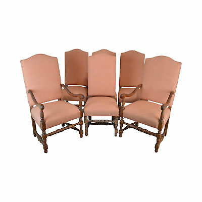 French Louis XIII Style Custom Upholstered Set 6 Dining Chairs