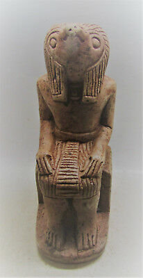 Scarce Ancient Egyptian Stone Statuette Of Seated Horus