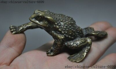 old China bronze Feng shui wealth Golden Toad hoptoad spittor auspicious statue
