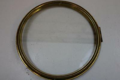 "DIAL CLOCK BEZEL with 9.25"" sight ring GOOD HINGE & CATCH spun brass  10.75"""