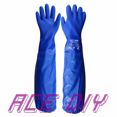 Chemo Heavy Duty Long PVC Gloves Shoulder Length Chemical Pond Drain Protection