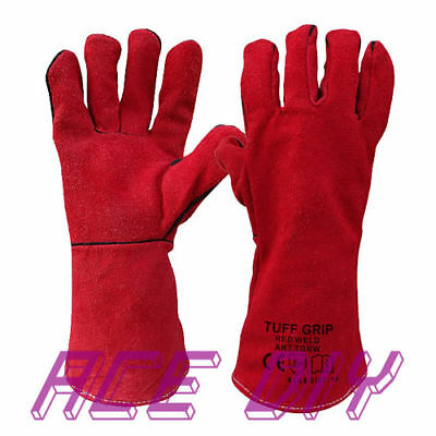 Welders Gaunlet Gloves Red | Leather Woodburner Stove Log Fire Oven Gauntlets