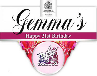 Personalised Gordons Pink Gin Bottle Label - Party / Birthday / Wedding Occasion