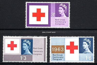 1963 Red Cross Centenary Congress Ordinary SG642 - 644 Unmounted Mint