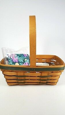 1993 Longaberger Large Stained Easter Basket with Protector & Liner