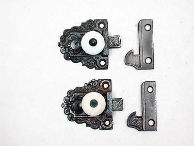 Two Matching Early Antique Cast Iron Cupboard Latches- Circa 1860 Porcelain Knob