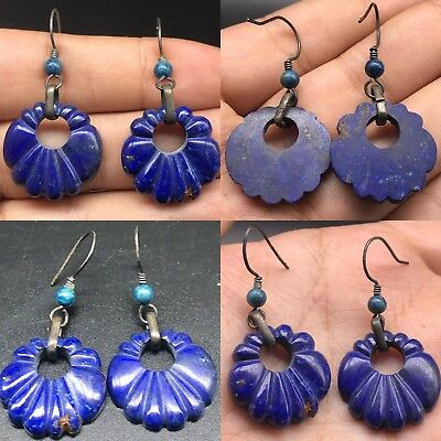 Adorable wonderful blue Lapis silver Antique Earing #S83
