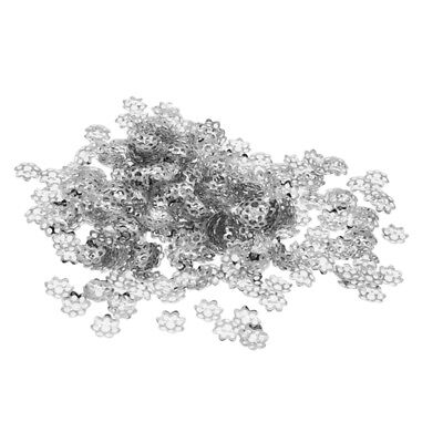 300Pcs 8mm Fine Filigree Flower Bead Caps Jewelry Making Findings DIY Crafts