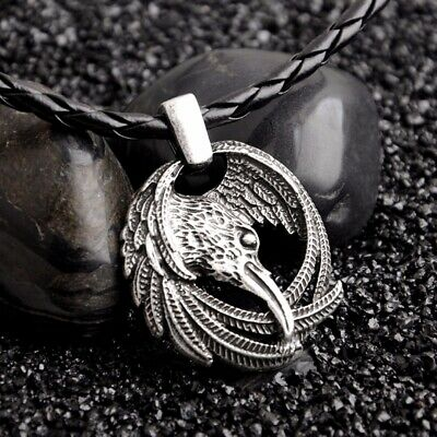 Vintage Raven Crow Norse Viking  Nordic Pendant Necklace Charm Chain Jewelry