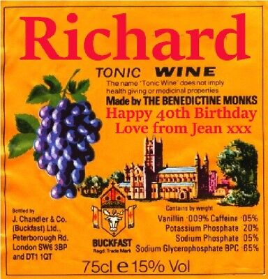 Personalised Buckfast Tonic Wine Bottle Label - Party / Birthday / Wedding