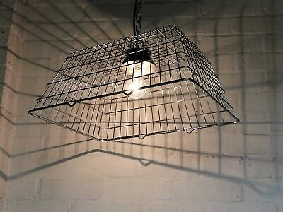 A Vintage Kitchen Shopping Basket Ceiling Light Pendant Chromed Metal Unique