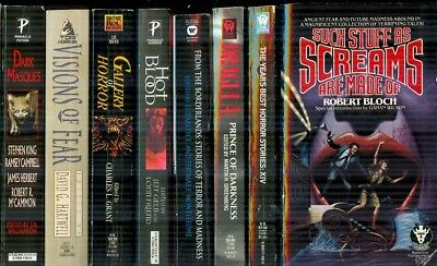 LOT G: 8 Vintage Anthology Horror Books ~ Edited By Grant, Bloch + 6 Other
