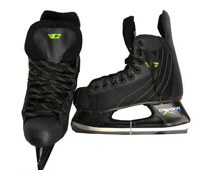 Canadian X Lite Hockey Skates - Size Mens 12 - Black/Green - NEW