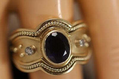 Heavy 13.9G 14K Yellow Gold Tanzanite Diamond Byzantine Etruscan Art Deco Ring