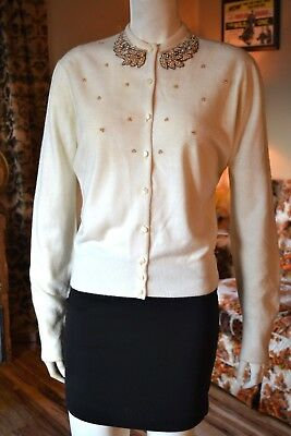 1950s vintage White BEADED pearls cardigan Virgin Orlon sweater Rockabilly