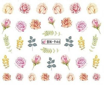 Nail Art Decals Transfers Stickers Pink Orange Roses (BN946)