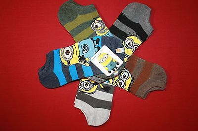 Despicable Me Minions Kids Socks 5 Pairs No-Show Ankle Socks Youth Size 6-8.5