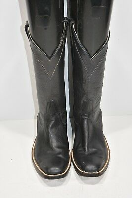 Mercedes Womens 6 D/5.5 D Custom Handmade Black Leather Square Toe Cowboy Boots