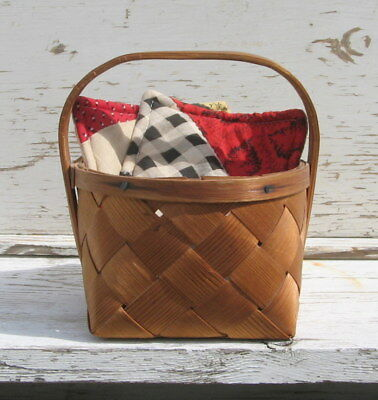 """Sweet Antique Primitive Small Hand Woven Splint Basket Only 5 x 6"""" Great Patina"""