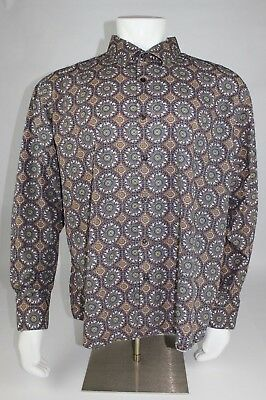 Tallia Mens Brown Multicolor Long Sleeve Button Shirt Size XXL (18 1/2)