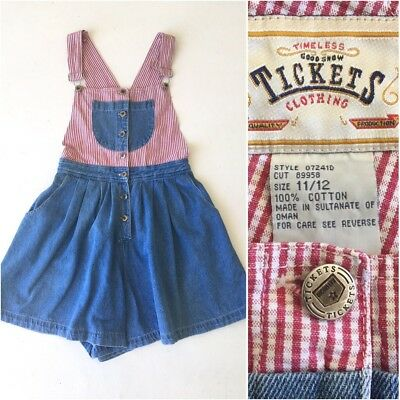 Vintage red gingham pleated SHORTS skort culottes overalls M