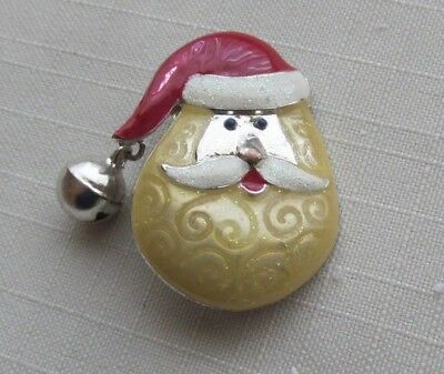 PRETTY VINTAGE SANTA HEAD PIN w/ JINGLE BELL   CHRISTMAS HOLIDAY #4