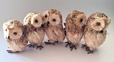 "Set of 5 Woodland Barred OWL figurine Rustic Country Fold Art Natural 4.5"" tall"