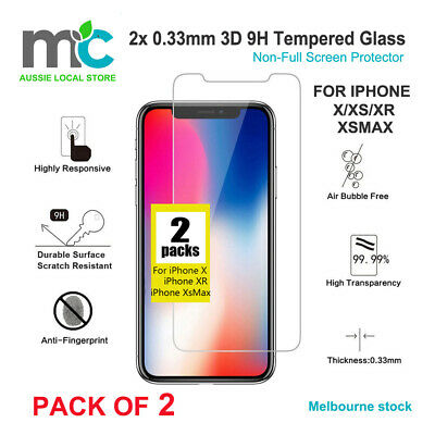 2x 0.33mm 3D 9H Tempered Glass Non-Full Screen Protector for iPhone X XR XsMax